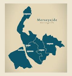 Modern map - merseyside metropolitan county with vector