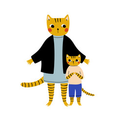 mother tiger and her kid loving parent animal and vector image