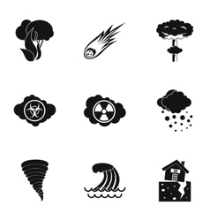 Natural catastrophe icons set simple style vector