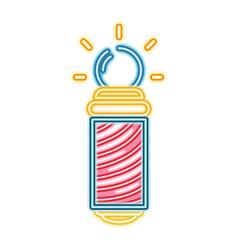 Neon baber shop symbol to haircut service vector
