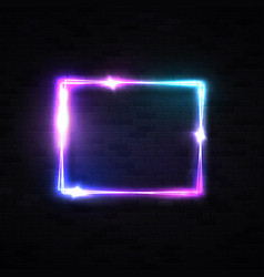 neon rectangle laser wall sign on black brick vector image