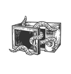octopus in microwave oven engraving vector image