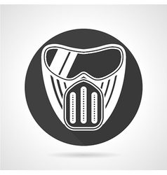 Paintball mask black round icon vector image