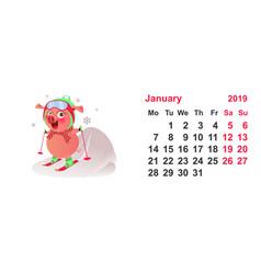 Pig ski symbol 2019 year calendar grid january vector