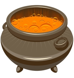 Potion brewed and boiling in the cauldron vector image