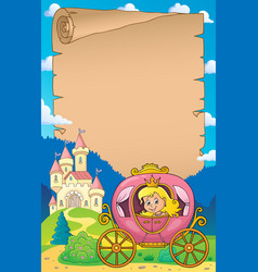 Princess in carriage theme parchment 1 vector