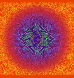 psychedeli abstract tribal mandala bright vintage vector image