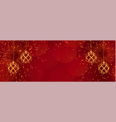 red christmas banner with sparkles and golden vector image