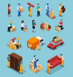 Relocation service isometric icons vector