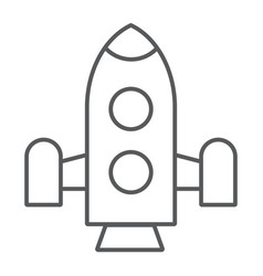 rocket thin line icon shuttle and astronomy vector image