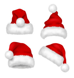 Santa hat red velvet christmas santa traditional vector