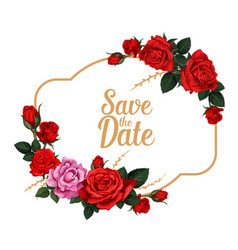 Save the date rose flower wedding invitation card vector