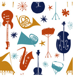 seamless pattern with colorful musical instruments vector image