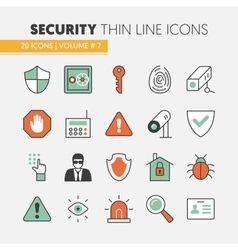 Security and Safety Thin Line Icons Set vector