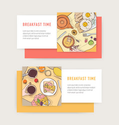 set horizontal web banner templates with tasty vector image