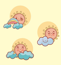 set of cute suns collection vector image