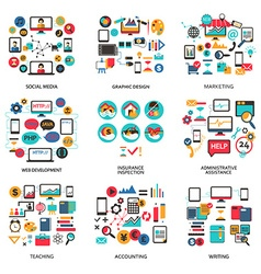 Set of elements for freelance job career vector