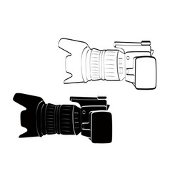 Side view white and black camera vintage icon vector