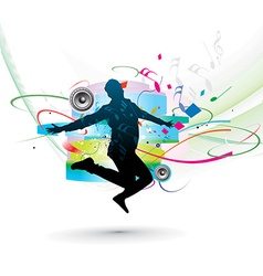Silhouette of man dancer posing vector