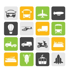 Silhouette Transportation and travel icons vector image