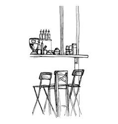 sketch bar counter vector image