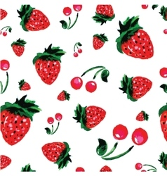 Strawberry background watercolor style vector image