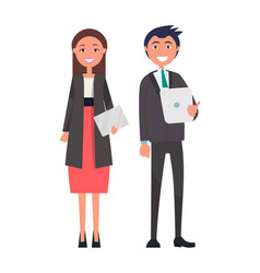 successful team confident leaders man woman vector image
