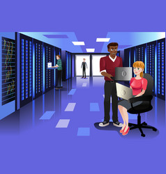 Technology people working in data center vector