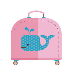 travel children suitcase with whale vector image