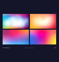 triangle mosaic backgrounds set colorful vector image