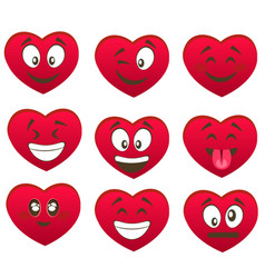 valentine s set of heart smiles vector image vector image