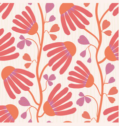 Vibrant coral flowers and heart shaped leaves on vector