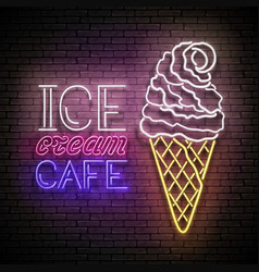 vintage glow poster with ice cream ball in cone vector image