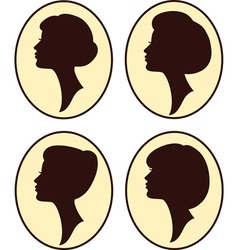 vintage womans silhouettes vector image
