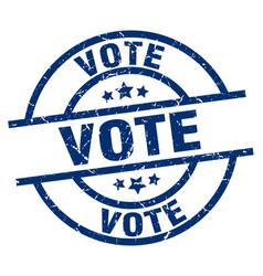 Vote blue round grunge stamp vector