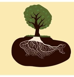Whale from the roots of a tree vector image