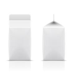White cardboard milk package vector
