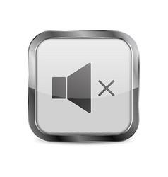 White glass media button square mute sign vector
