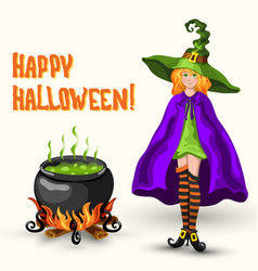 Witch cauldron with poison and halloween title vector
