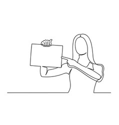 woman holding a paper and shows her finger vector image