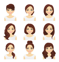 womans hairstyles set vector image