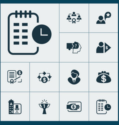 Work icons set with cash flow effective teamwork vector