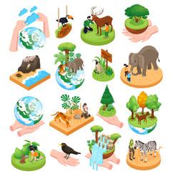 World wildlife day isometric set vector