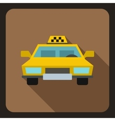 Yellow taxi car icon flat style vector