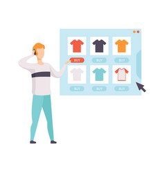 Young man choosing and bying a shirt from an vector