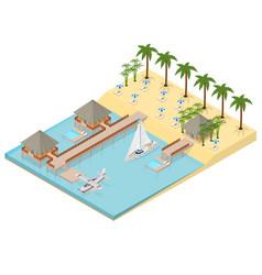 bungalow on sea coast isometric view vector image vector image