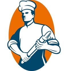 Chef cook or baker standing with rolling pin vector