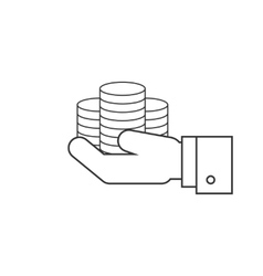 Coins on hands line icon vector image vector image