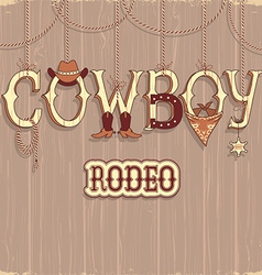 Cowboy rodeo text background vector image vector image