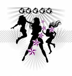 girls silhouette show stars vector image vector image